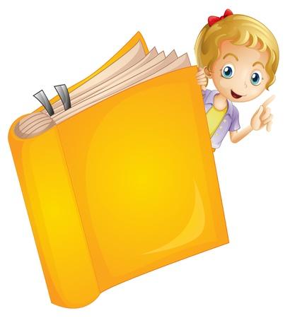 yellow hair: Illustrazione di una ragazza e di un libro su uno sfondo bianco