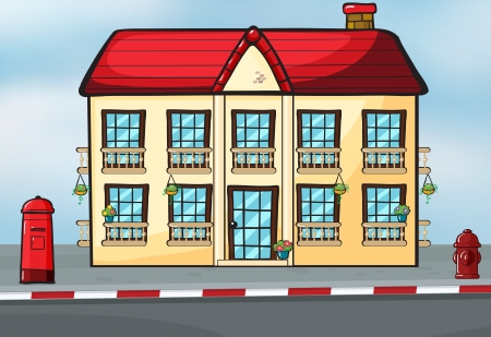 Illustration of a house and a mailbox near the street Vector