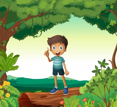 phantasy: Illustration of a boy standing on wood in nature