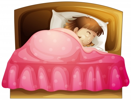Illustration of a girl sleeping in her bed on a white background Vector