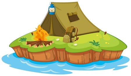 foldable: Illustration of camping on an island