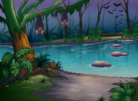 Illustration of mysterious woods and a river Vector
