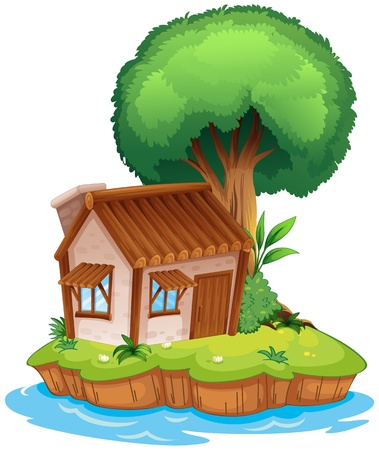 Illustration of a house on an island together with a tree Vector