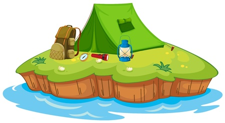 foldable: Illustration of camping on an island on a white background