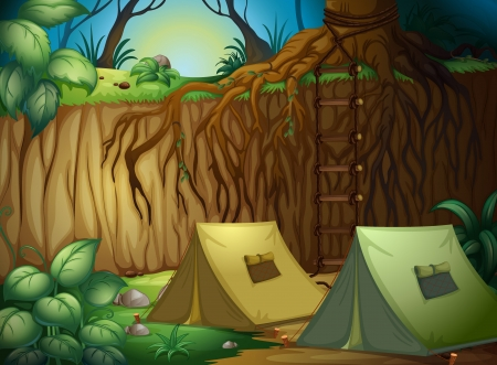 rope ladder: Ilustraci�n de acampar en un hermoso bosque Vectores
