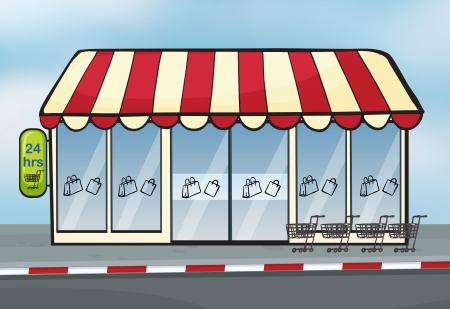 Illustration of a store near a street Vector