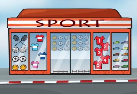 futbol infantil: ilustración de una tienda de deporte cerca de una calle Vectores
