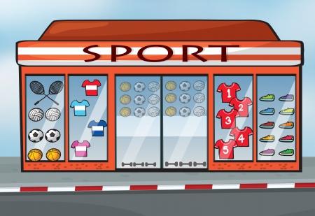 ilustracja sklepie sportowym niedaleko ulicy Ilustracje wektorowe