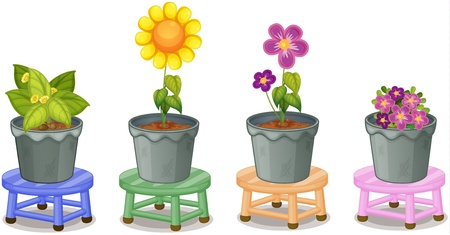 tabletop: illustration of various potted plants on stools on a white background Illustration