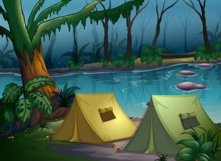 incendio bosco: Illustrazione di un campo tenda nel bosco vicino a un fiume