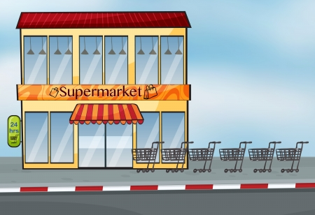 simple store: Illustration of a supermarket near the street