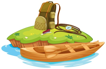 small boat: Illustration of vaious objects for camping on an island and a canoe Illustration