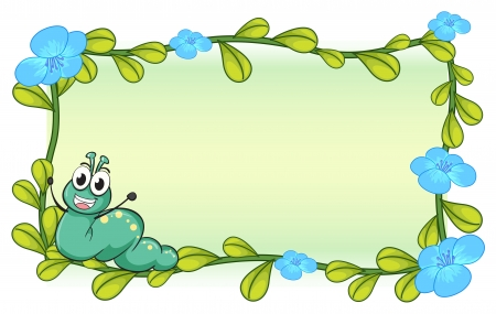 Illustration of a caterpillar and flowers on a white background Vector