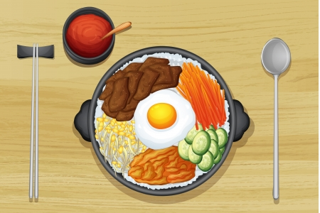 cooked rice: Illustration of a food and a dish on a wooden background