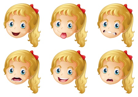 angry blonde: Illustration of girl faces on a white background Illustration