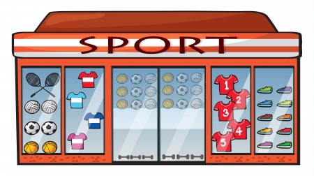 cartoon window: Illustration of a sports shop on a white background