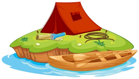 foldable: Illustration of vaious objects for camping on an island and a canoe Illustration