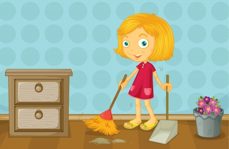 sweeping: Illustration of a girl cleaning a room