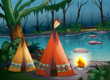 damp: Illustration of traditional indian tents in the woods near a river