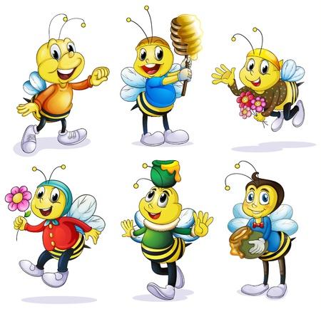 abeja caricatura: Ilustración de abejas diferentes sobre un fondo blanco