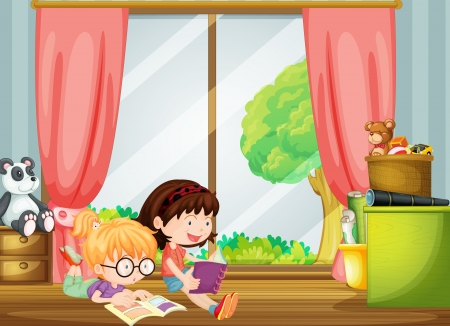 cartoon reading: Illustration of girls reading books in a room