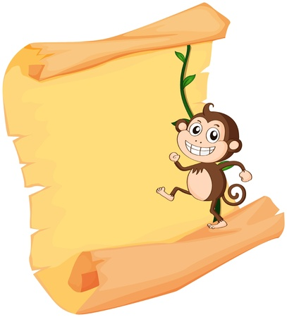 Illustration of a monkey and a roll on a white background Vector