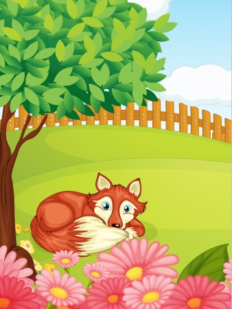 lying in: Illustration of a fox lying under a tree in a beautiful nature