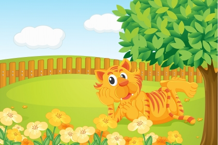 Illustration of a tiger in a beautiful nature Vector