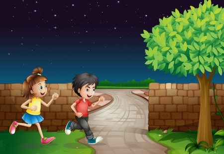Illustration of a running boy and a girl in a dark night Stock Vector - 16969820