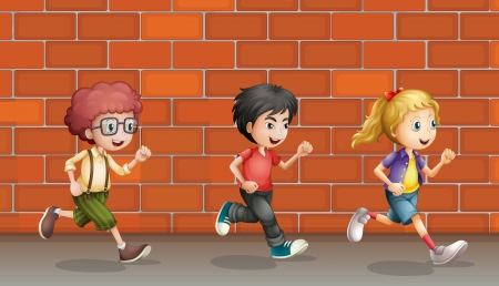 young boy smiling: Illustration of two boys and a girl running in front of wall