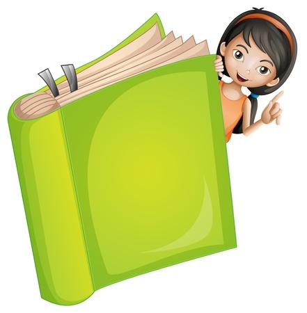 Illustration d'une fille et d'un livre sur un fond blanc Banque d'images - 16969788
