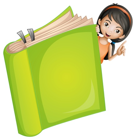 Illustration of a girl and a book on a white background Stock Vector - 16969788