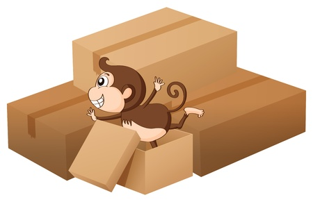 Illustration of a monkey and boxes on a white background Stock Vector - 16969735