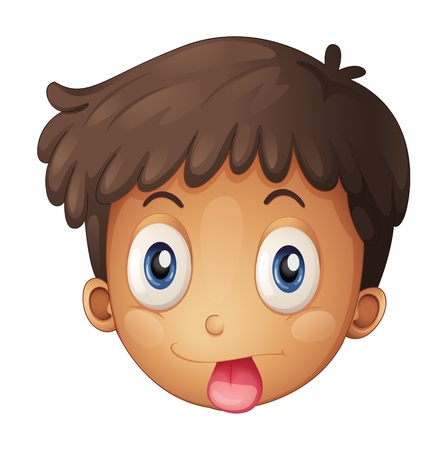 Illustration of a face of a boy on a white background Vector