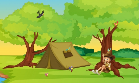 Illustration of a boy and a tent for camping in a beautiful nature Vector