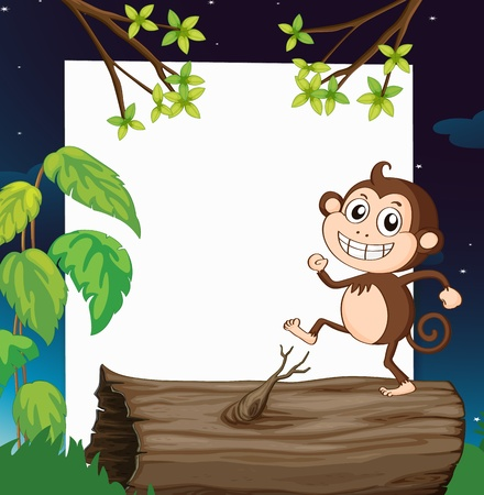Illustration of a monkey and a white board in a beautiful nature Vector
