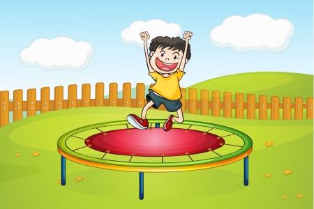 Illustratie van een jongen springen op een trampoline in een prachtige natuur Vector Illustratie