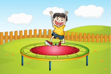 Illustration of a boy jumping on a trampoline in a beautiful nature
