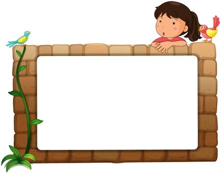 niños con pancarta: Ilustración de una pizarra blanca, una niña y los pájaros en un fondo blanco