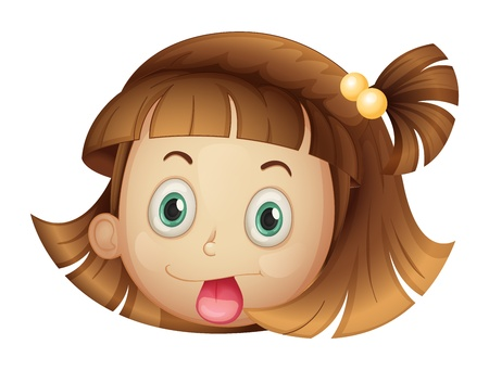 girl tongue: Illustration of a face of a girl on a white background Illustration