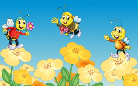 Illustration of bees and flowers in a beautiful nature Vector