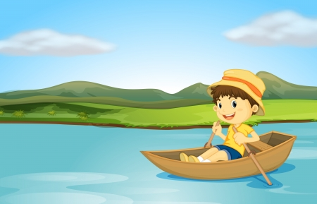 Illustration of a boy rowing a boat on a lake Stock Illustratie