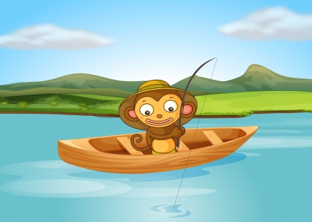 Illustration of a fishing monkey in a beautiful nature Vector