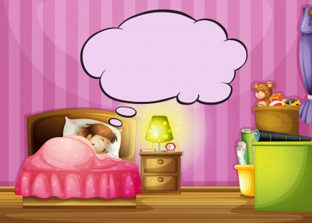 Illustration of a sleeping girl and a speech bubble Stock Vector - 16969814