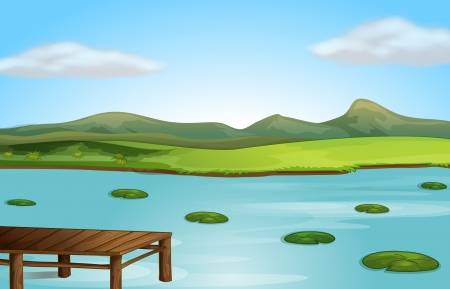 river bank: Illustration of a wooden jetty and a river in a beautiful nature Illustration