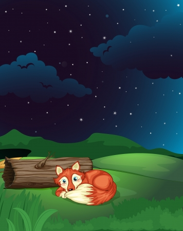 Illustration of a fox lying next to wood in a beautiful dark night Vector