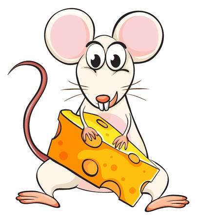 cartoon dinner: Illustration of a mouse and cheese on a white background