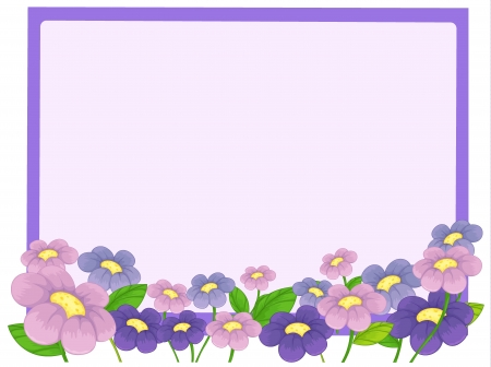 small purple flower: Illustration of a white board and flowers on a white background