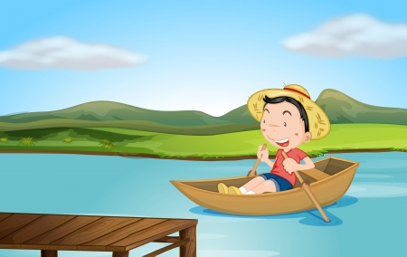 Illustration of a boy rowing a boat on a lake Vector