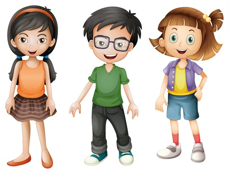 cartoon jongen: Illustratie van een jongen en meisjes op een witte achtergrond